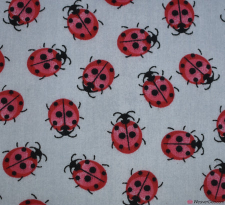 Poly Cotton Fabric - Ladybird Silver