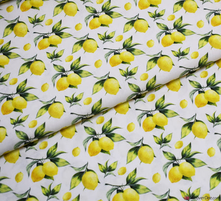 Little Johnny Digital Print Cotton Fabric - Zesty Lemon