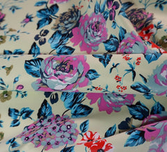 Lemon Roses Stretch Sateen Fabric