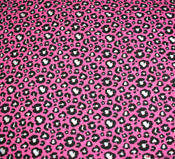 Poly Cotton Fabric - Leopard Print Pink