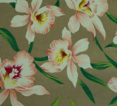Lillies Beige Cotton Lawn Fabric