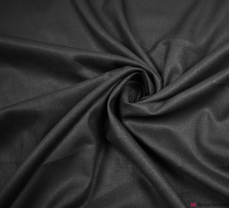 Plain Linen Fabric - Black