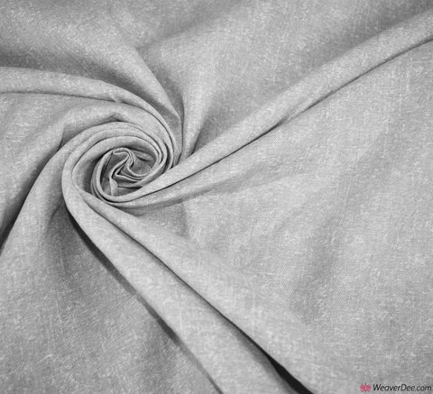 Plain Pure Linen Fabric - Flecked Grey