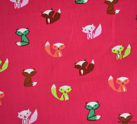 Little Fox Poplin Cotton Poplin Fabric - Cerise