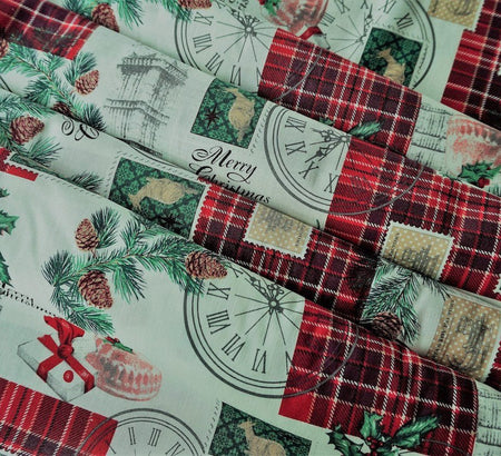 Rose & Hubble Cotton Fabric - London Christmas