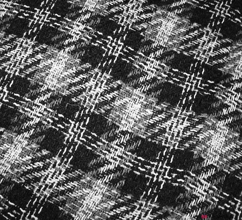Loose Weave Wool Blend Fabric - Grey Check