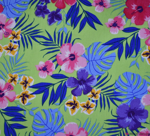 Santa Lucia Floral Cotton Poplin Fabric - Lime Green