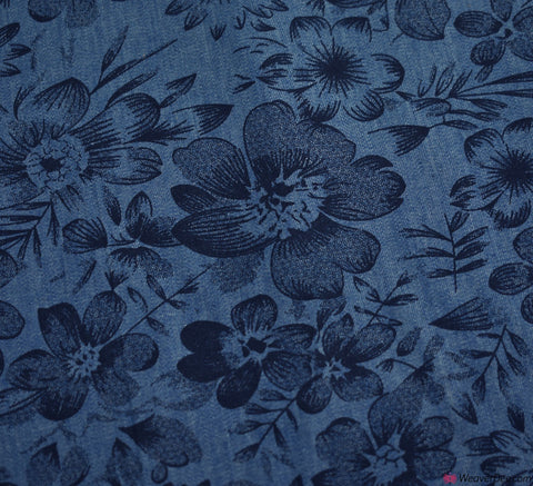 4oz Denim Chambray Fabric - Luella Floral