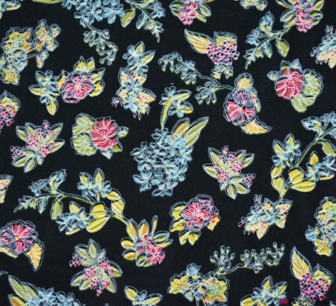 Luzia Floral Black Cotton Poplin Fabric