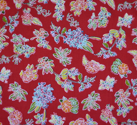 Luzia Floral Red Cotton Poplin Fabric