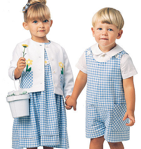 McCall's - M6304 Toddlers' Rompers, Dress, Jacket & Shirt - WeaverDee.com Sewing & Crafts - 1