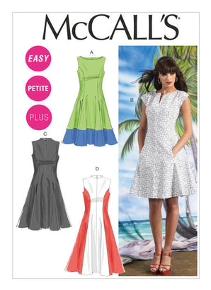 McCall's Pattern M6741 Misses'/Women's Petite Lined Dresses | Easy