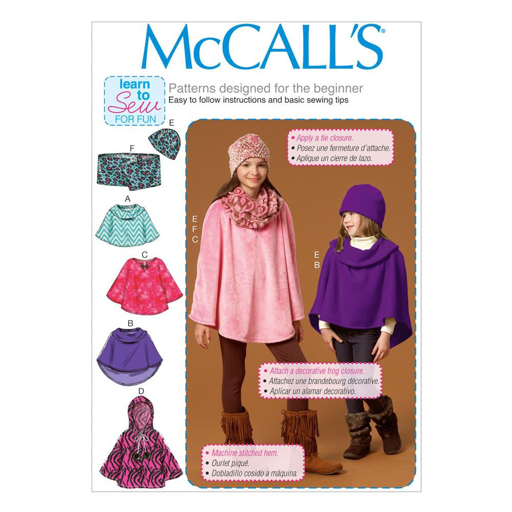 McCall's - M7012 Children's/Girls' Ponchos, Hat & Scarf - WeaverDee.com Sewing & Crafts - 1