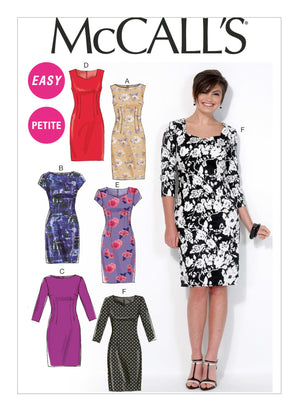 McCall's - M7085 Misses'/Miss Petite Sheath Dresses - WeaverDee.com Sewing & Crafts - 1