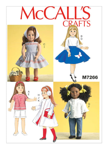 "McCall's Pattern M7266 Retro Clothes for 18"" Dolls"