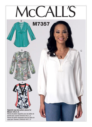 McCall's - M7357 Misses' Banded Tops with Yoke - WeaverDee.com Sewing & Crafts - 1