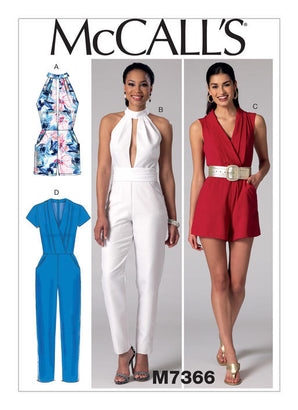 McCall's - M7366 Misses' Pleated Surplice or Plunging-Neckline Rompers, Jumpsuits & Belt - WeaverDee.com Sewing & Crafts - 1