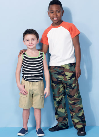 McCall's - M7379 Children's/Boys' Raglan Sleeve Tops, Tank Top, Cargo Shorts & Pants - WeaverDee.com Sewing & Crafts - 1