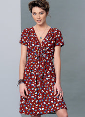 McCall's - M7381 Misses' Surplice, Pleated Dresses with Optional Front-Tie - WeaverDee.com Sewing & Crafts - 1
