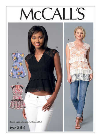 McCall's - M7388 Misses' V-Neck Empire-Waist Tops | Easy - WeaverDee.com Sewing & Crafts - 1