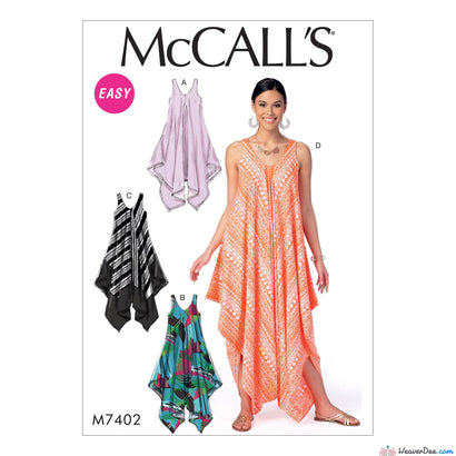 McCall's - M7402 Misses' Handkerchief-Hem, Tent Dresses & Jumpsuit - WeaverDee.com Sewing & Crafts - 1