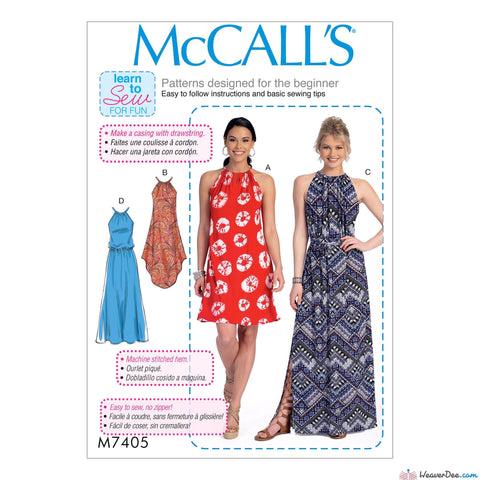 McCall's - M7405 Misses' Gathered-Neckline Dresses with Ties & Belt - WeaverDee.com Sewing & Crafts - 1