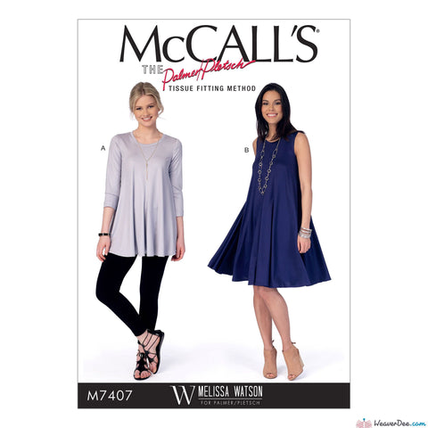 McCall's - M7407 Misses' Flared Knit Top & Dress - WeaverDee.com Sewing & Crafts - 1