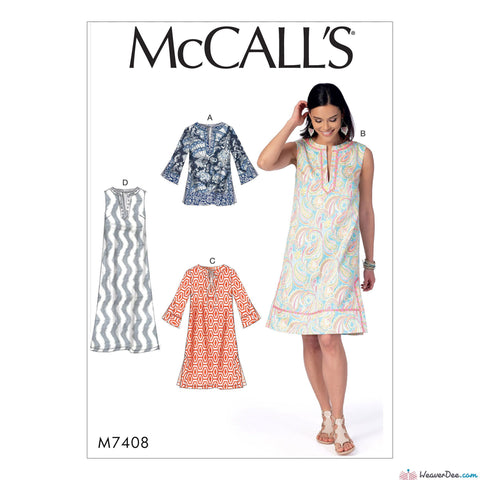 McCall's - M7408 Misses' Notched Tunic & Dresses - WeaverDee.com Sewing & Crafts - 1
