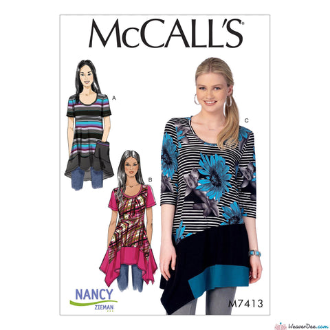 McCall's - M7413 Misses'/Women's Knit Tops with Asymmetrical Hemlines - WeaverDee.com Sewing & Crafts - 1