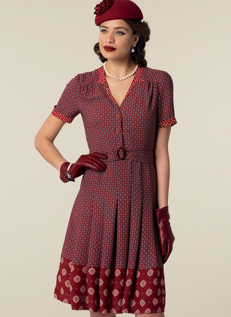 McCall's - M7433 Vintage 1940's Inverted Notch-Collar Shirtdresses & Belt - WeaverDee.com Sewing & Crafts - 1