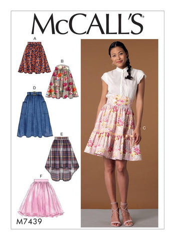 McCall's - M7439 Misses' Gathered & Flared Skirts with Belt - WeaverDee.com Sewing & Crafts - 1