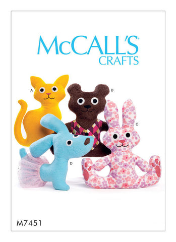 McCall's - M7451 Cat, Bear, Rabbit & Dog Stuffed Animals - WeaverDee.com Sewing & Crafts - 1