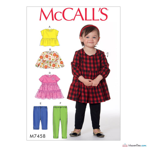 McCall's - M7458 Toddlers' Gathered Tops, Dresses & Leggings - WeaverDee.com Sewing & Crafts - 1
