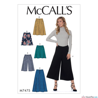 McCall's - M7475 Misses' Flared Skirts, Shorts & Culottes - WeaverDee.com Sewing & Crafts - 1