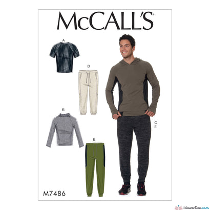 McCall's - M7486 Men's Raglan Sleeve Tops & Drawstring Pants - WeaverDee.com Sewing & Crafts - 1