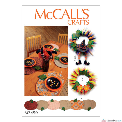 McCall's - M7490 Pumpkin Placemats/Table Runner, Witch Hat/Legs & Wreaths - WeaverDee.com Sewing & Crafts - 1