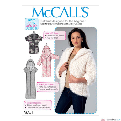 McCall's - M7511 Misses' Open-Front Jackets with Shawl Collar & Hood - WeaverDee.com Sewing & Crafts - 1
