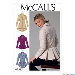McCall's - M7513 Misses' Notch-Collar, Peplum Jackets - WeaverDee.com Sewing & Crafts - 1