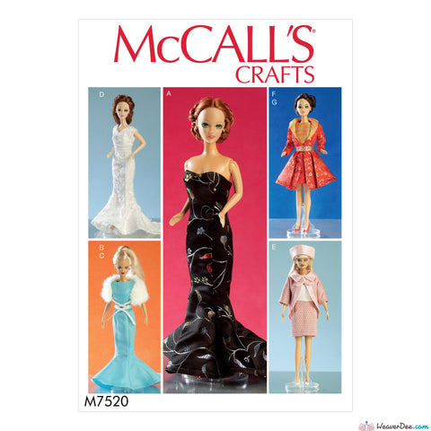 "McCall's - M7520 Gowns, Stole, Dresses, Coats & Hat for 11½"" Doll - WeaverDee.com Sewing & Crafts - 1"