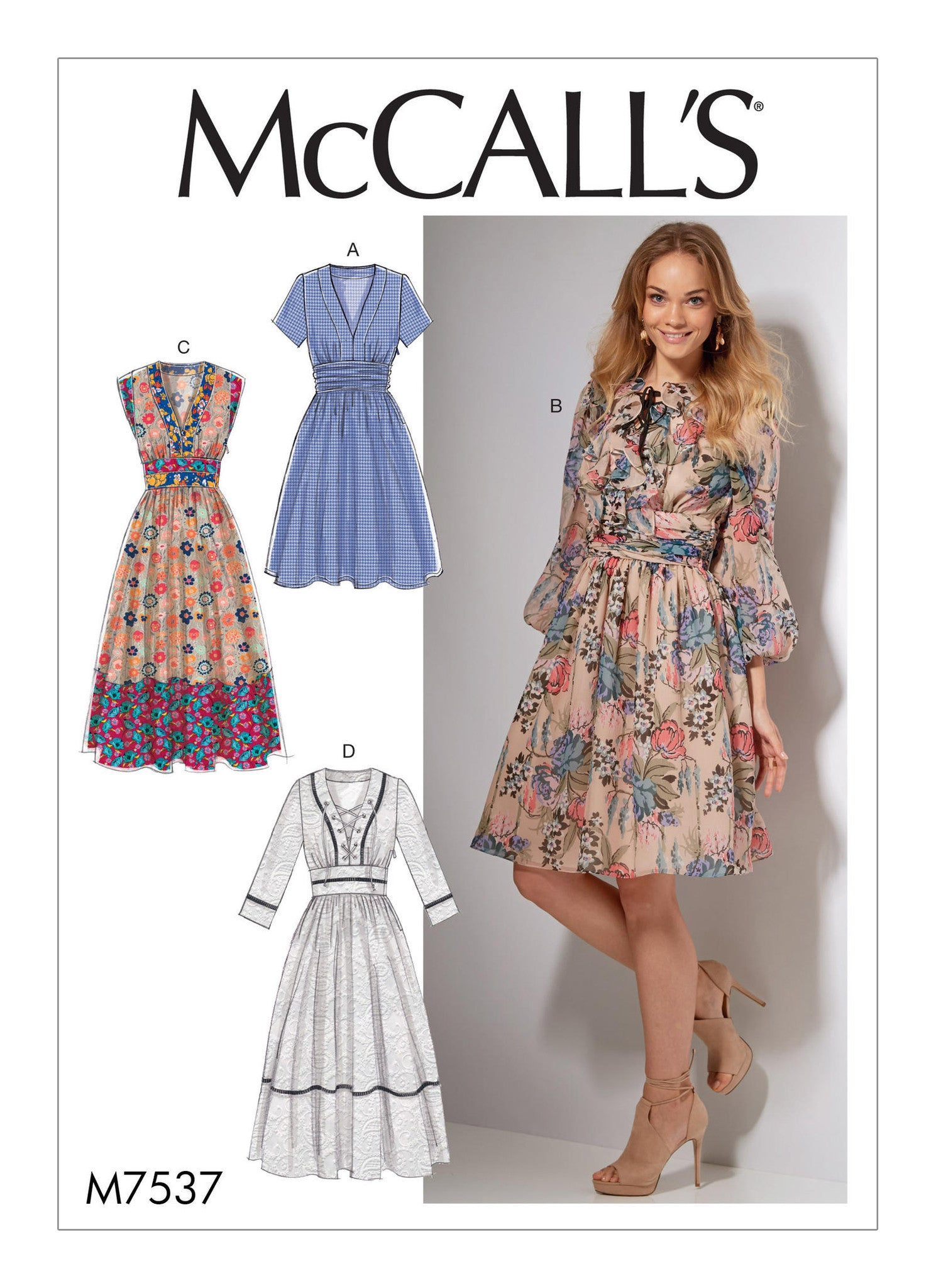 McCall's - M7537 Misses' Banded, Gathered-Waist Dresses - WeaverDee.com Sewing & Crafts - 1