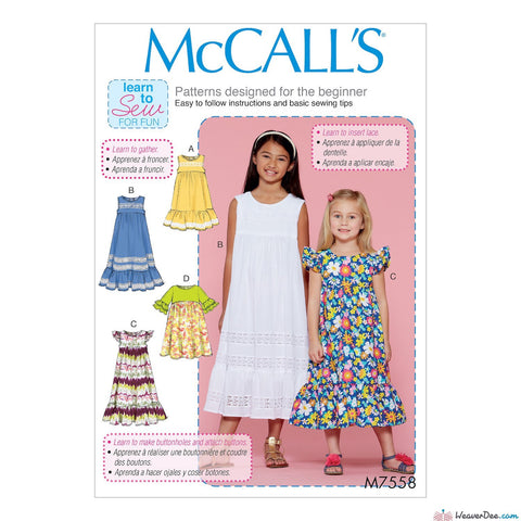 McCall's Pattern M7558 Children's/Girls' Sleeveless & Ruffle Sleeve Empire-Waist Dresses