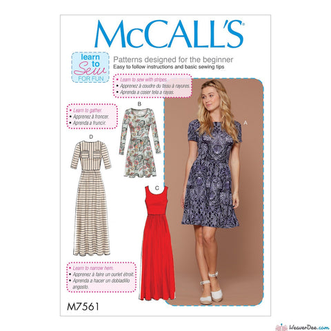 McCall's Pattern M7561 Misses' Pullover, Gathered-Waist Knit Dresses with Sleeve & Hem Options