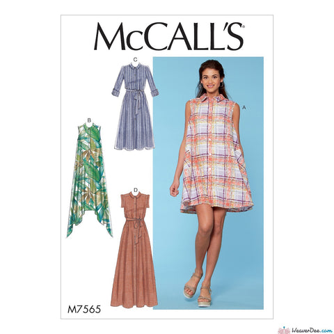 McCall's Pattern M7565 Misses' Shirtdresses with Sleeve Options & Belt