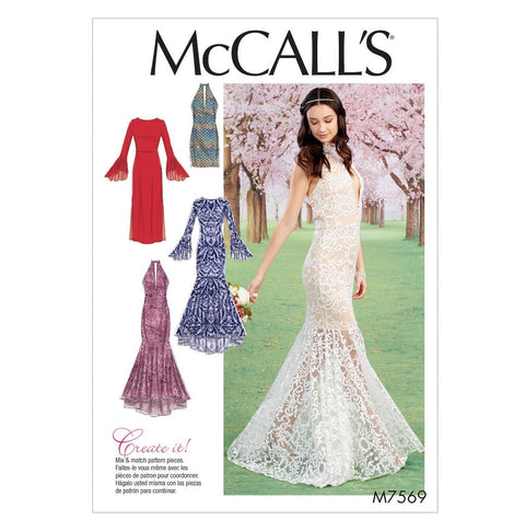 McCall's Pattern M7569 Misses' Column & Trumpet Dresses with Bodice & Sleeve Variations