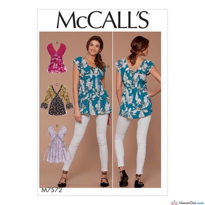 McCall's Pattern M7572 Misses' V-Neck, Gathered Tops with Sleeve & Tie Variations
