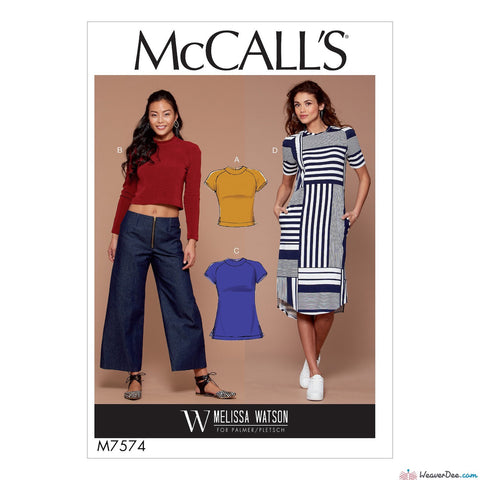 McCall's Pattern M7574 Misses' Knit, Raglan Sleeve Pullover Tops, Tunic & Dress