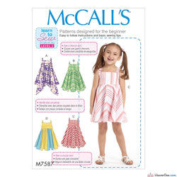 McCall's Pattern M7587 Children's/Girls' Dresses with Square Neck & Circular Skirt Variations