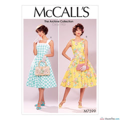 McCall's Pattern M7599 Vintage 1950s Misses' Lined Fit-and Flare Dresses with Petticoat