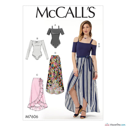 McCall's Pattern M7606 Misses' Off-the-Shoulder Bodysuits & Wrap Skirts with Side Tie