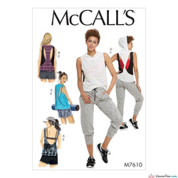 McCall's Pattern M7610 Misses' Pullover Tops with Back Variations & Pull-On Shorts & Pants with Elastic Waist